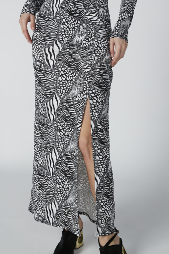 Printed Maxi Dress with Long Sleeves and Slit Detail