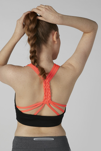 Plain Sports Bra with Scoop Neck and Straps
