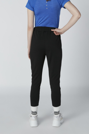 Jog Pants with Printed Tape Detail and Wide Cuffs