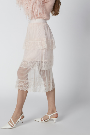 Pleated A-line Midi Skirt with Lace Detail