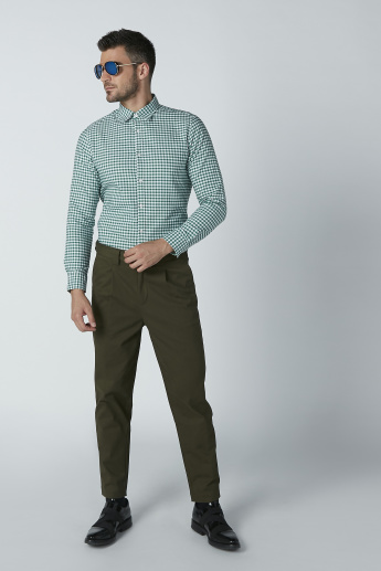 Solid Formal Trousers with Pocket Detail and D-Ring