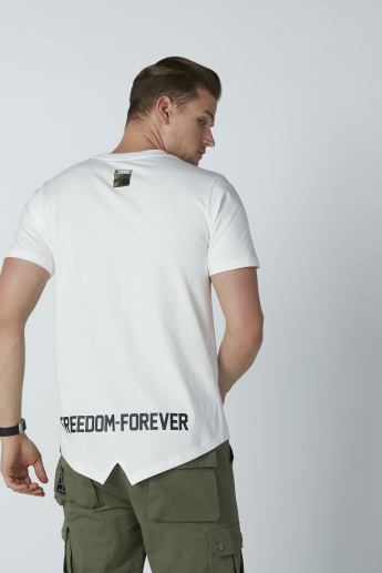 Text Printed T-Shirt with Round Neck and Short Sleeves