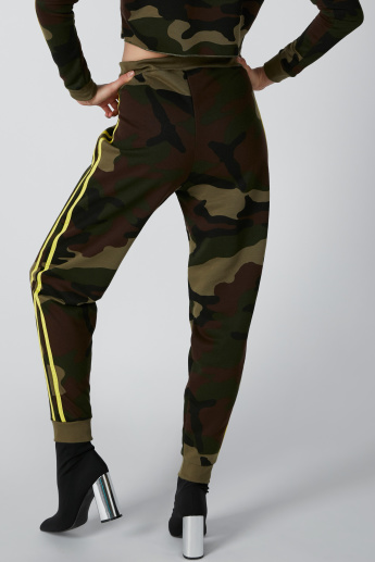 Tape Detail Camouflage Printed Jog Pants with Drawstring