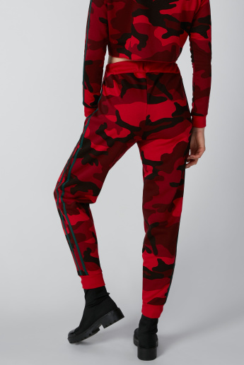 Tape Detail Camouflage Printed Jog Pants with Drawstring Closure