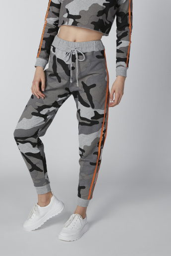 Camouflage Printed Jog Pants with Tape Detail