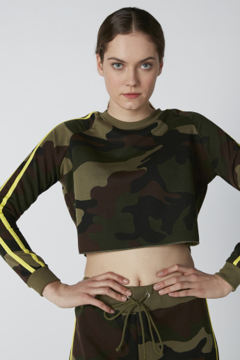 Printed Crop Sweat Top with Tape Detail