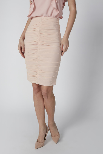 Ruching Midi Bodycon Skirt