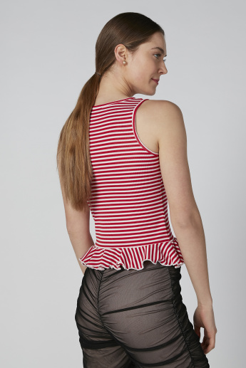 Striped Sleeveless Peplum Top with Round Neck