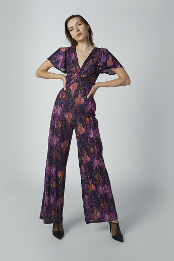 Printed Jumpsuit with Twist Detail and Flared Sleeves