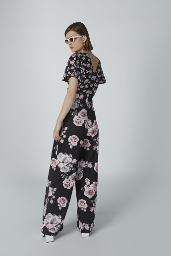 Floral Printed Jumpsuit with Twist Detail and Short Sleeves