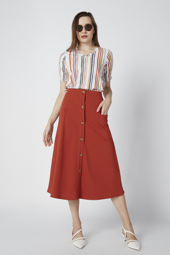 A-Line Midi Skirt with Button and Pocket Detail