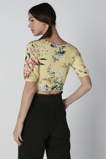 Floral Printed Crop Top with Ruching Detail