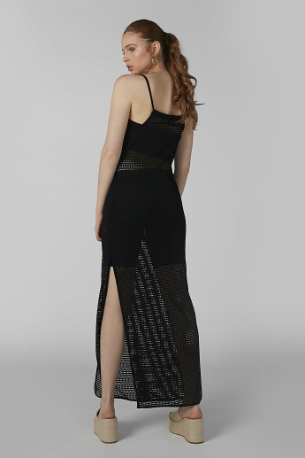 Textured Maxi Bodycon Dress with Spaghetti Straps and Slit