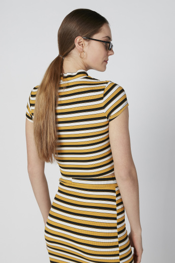 Striped Crop Top with High Neck and Cap Sleeves