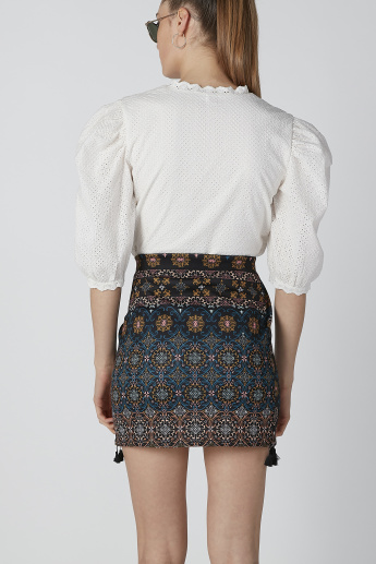 Printed Wrap Mini Skirt with Tassels
