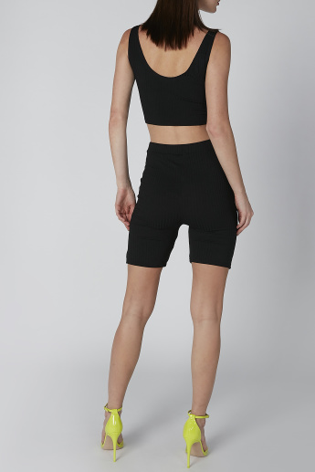 Textured Shorts with Flexi Waist