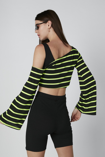 Striped Crop Top with Long Bell Sleeves
