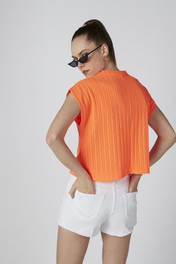 Ribbed T-shirt with Round Neck and Extended Sleeves
