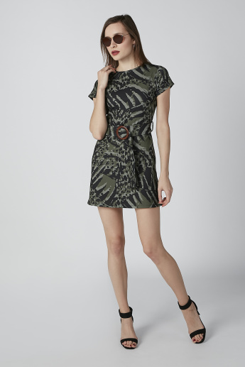 Printed Mini A-Line Dress with Round Neck and Ring Detail