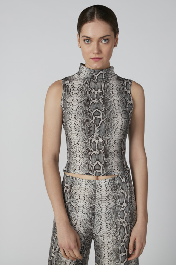 Printed Sleeveless Crop Top with Turtleneck