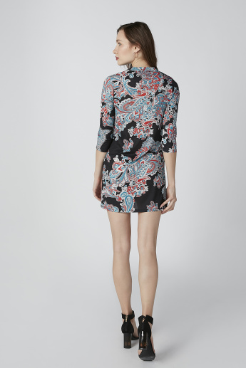 Printed Mini Shift Dress with 3/4 Sleeves and Tie Ups