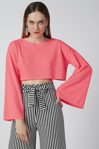 Textured Top with Round Neck and Flared Sleeves