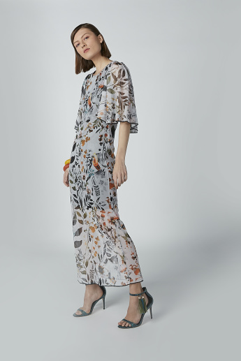 Floral Printed A-line Maxi Dress with Flared Sleeves