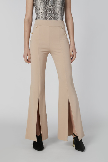 Wide Fit Plain Flexi Waist Palazzo Pants with Slit and Embellishments