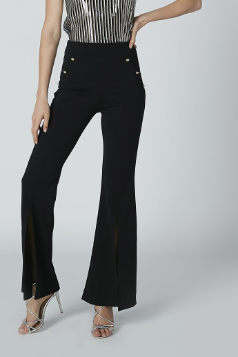 Full Length Wide Fit Palazzo Pants with Pearl Detail