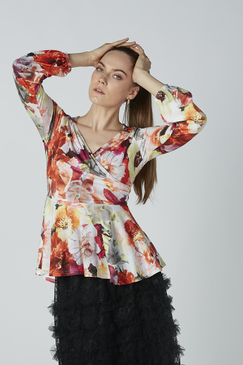 Floral Printed Peplum Top with V-neck and Long Sleeves