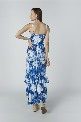 Printed Maxi Dress with Straps and Tie Ups