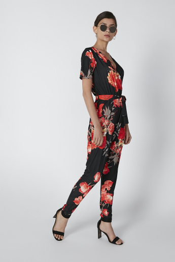 Floral Printed Jumpsuit with Short Sleeves and Tie Up