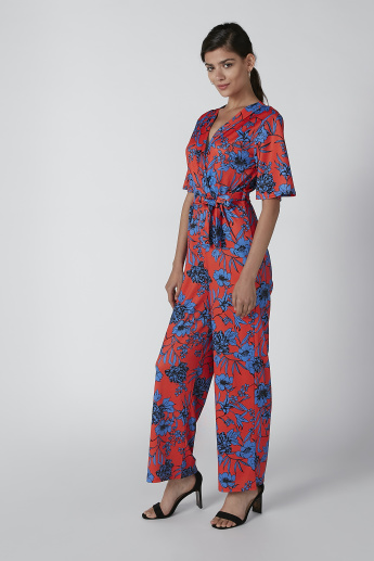 Floral Printed Jumpsuit with Tie Up Belt