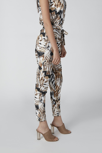 Printed Flexi Waist Trousers with Tie Up Belt