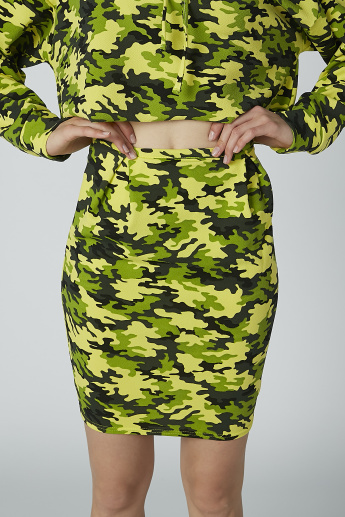 Camouflage Printed Bodycon Mini Skirt