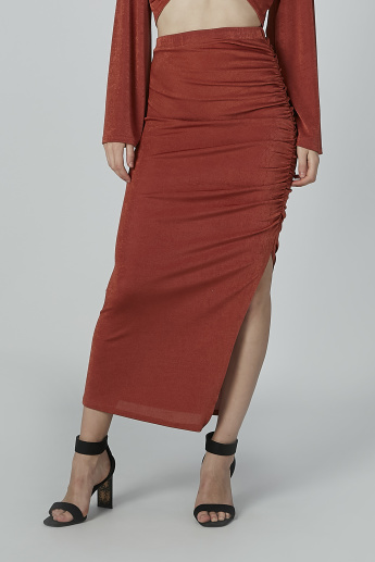 Textured Midi Bodycon Skirt with Side Slit