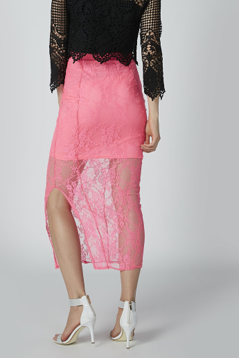 Lace Midi Bodycon Skirt with Side Slit