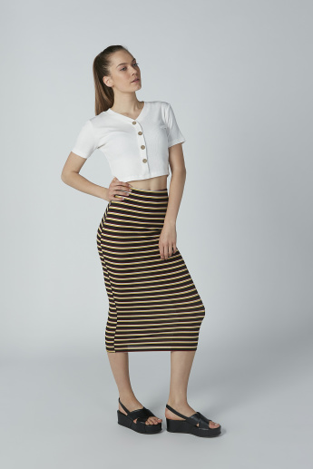 Striped Midi Bodycon Skirt
