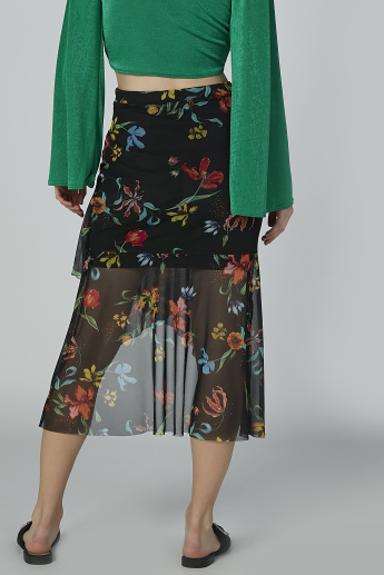 Floral Printed Midi Skirt with Asymmetric Hem