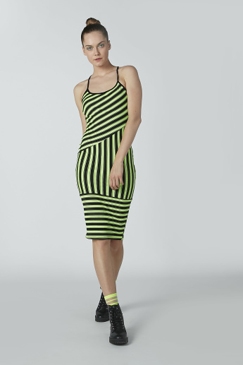 Striped Midi Bodycon Dress with Crisscross Back
