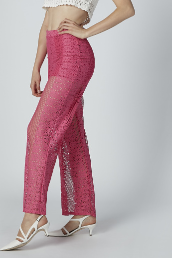 Lace Detail Palazzo Pants in Wide Fit with Flexi Waist