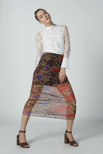 Printed Bodycon Skirt with Elasticised Waistband