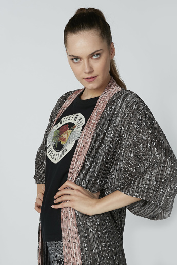 Printed Open Front Shrug with Flared Sleeves