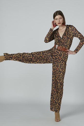 Animal Printed Jumpsuit with V-neck and Long Sleeves
