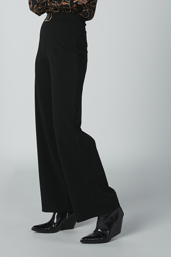 Plain Mid-Rise Palazzo Pants with Metallic Ring Detail
