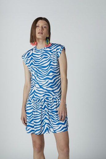 Printed Mini Dress with Round Neck and Extended Cap Sleeves