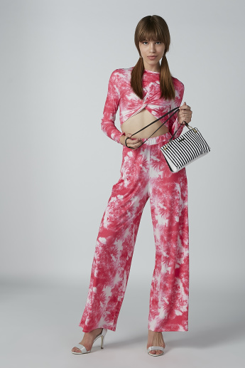Printed Palazzo Pants in Wide Fit with Elasticised Waistband