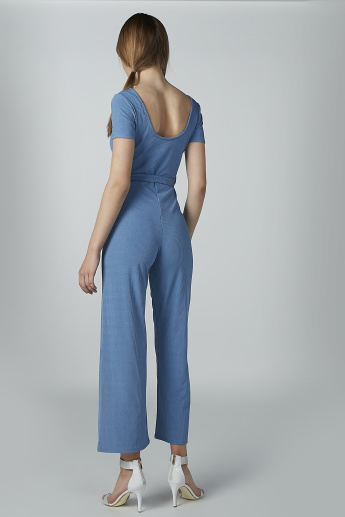 Textured Jumpsuit with Button Detail and Tie Up Belt