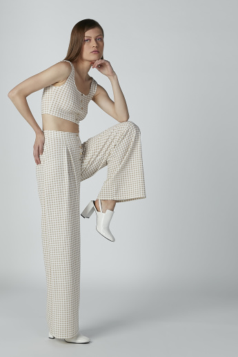 Plain Mid-Waist Palazzo Pants with Button Detail