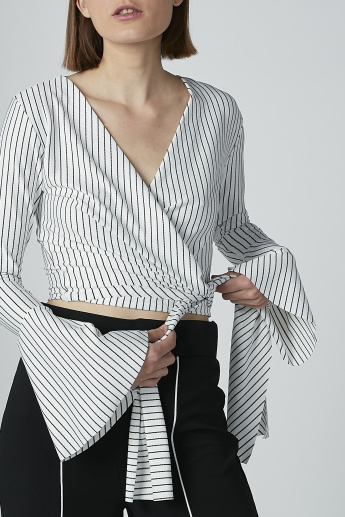 Striped Top with V-neck and Flared Sleeves